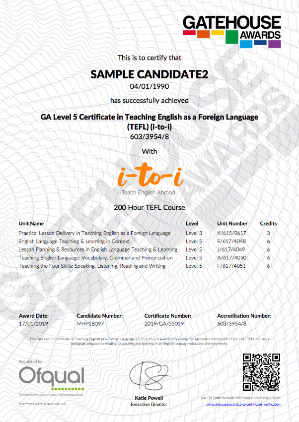 Sample TEFL Certificate