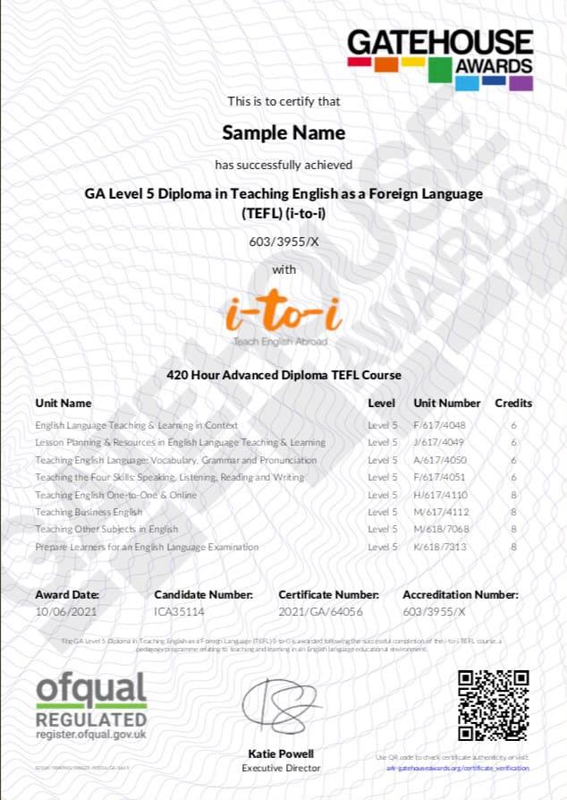 Sample TEFL Certificate