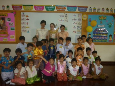 Heather with her students