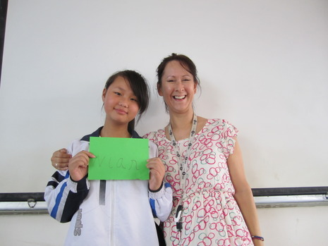 Denise with a Chinese student