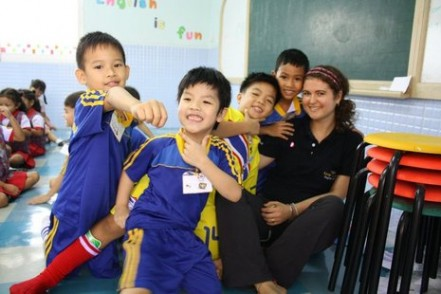 Jess with her students