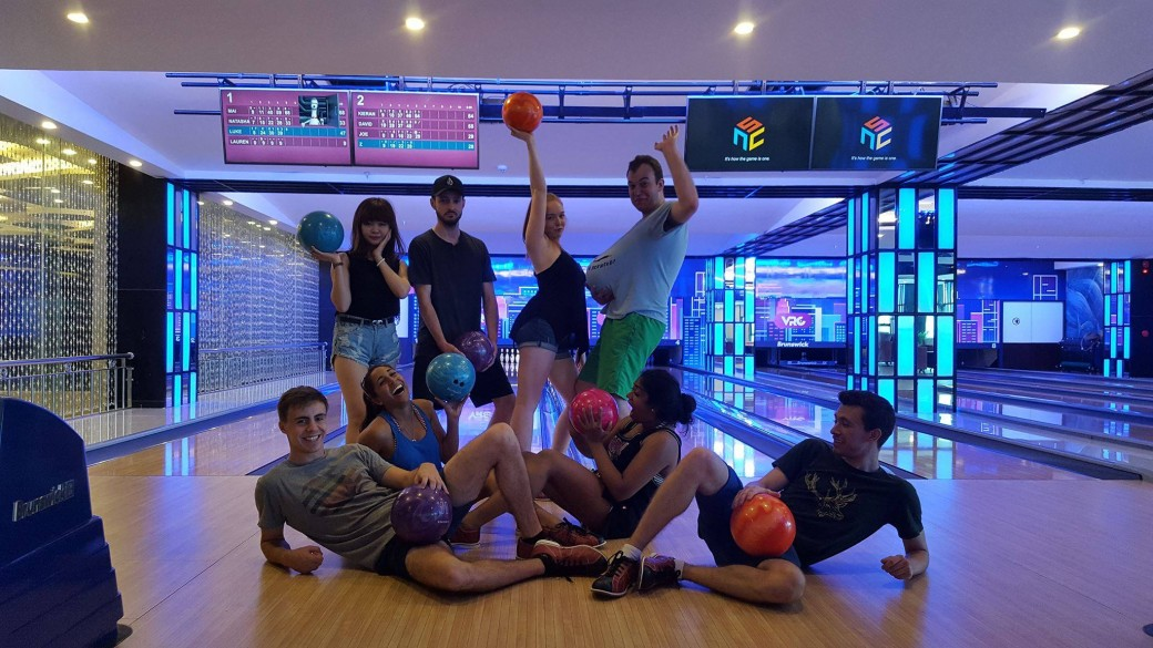 TEFL teachers having fun at a bowling alley in Vietnam