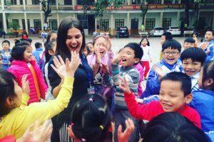 TEFL teacher in Vietnam with her students