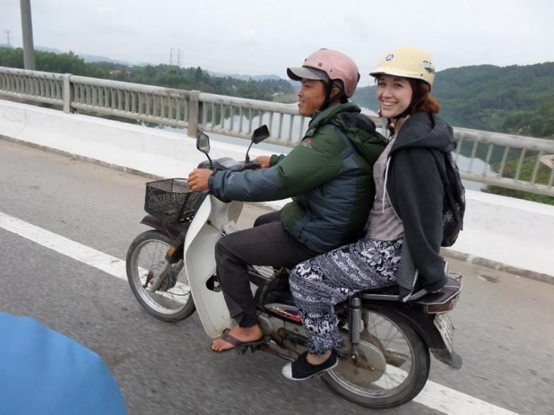 Christina on a motorbike