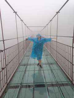Kelsey on the glass bridge