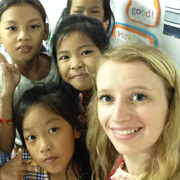 Cambodia TEFL intern Alli Parry with her English students in Phnom Penh, Cambodia