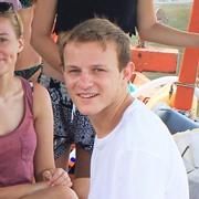Cambodia TEFL intern Charlie Adams on a boat trip in Sihanoukville, Cambodia