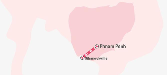 Map of Cambodia marking Phnom Penh and Sihanoukville