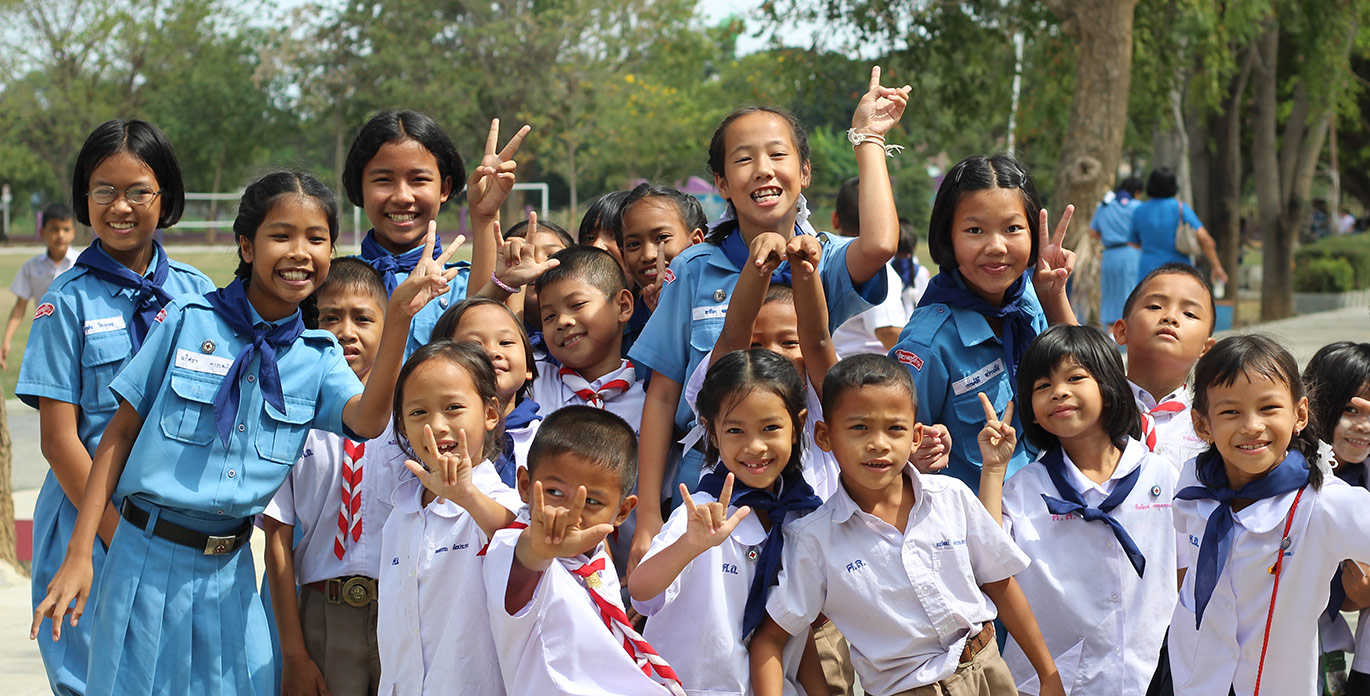 TEFL pupils in playground