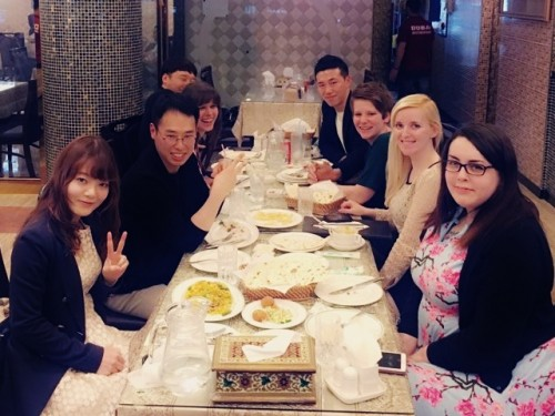 i-to-i TEFL graduates socialise at a restaurant in Seoul, South Korea