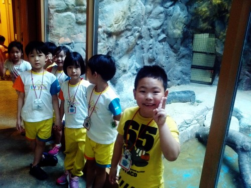 Students on a field trip to the zoo in Seoul, South Korea