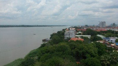 Hotel overlooking the Mekong river in Phnom Penh, Cambodia