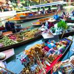Colourful river market in Bangkok, Thailand