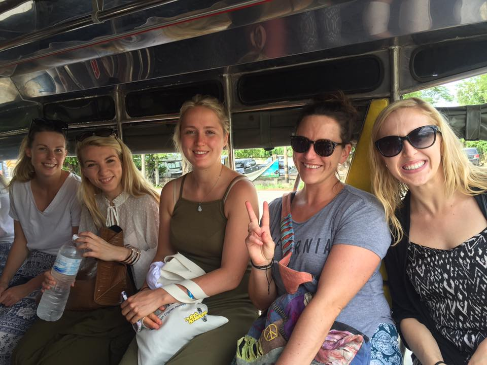 i-to-i interns in a tuk-tuk in Kanchanaburi, Thailand