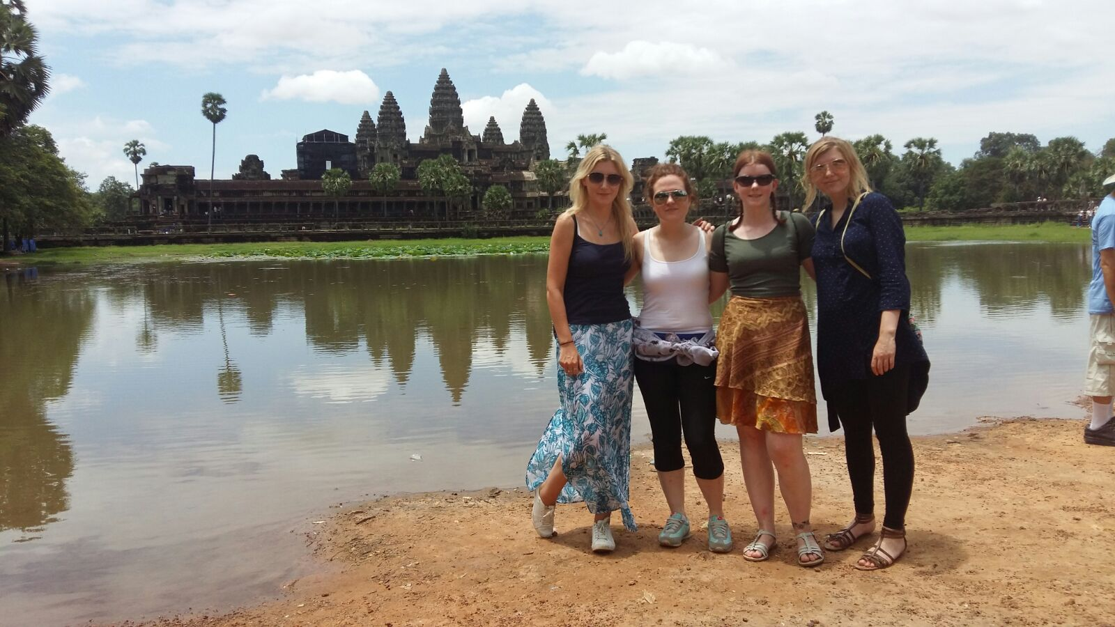 A group of i-to-i interns at the ancient Angkor Wat temple complex in Siem Reap, Cambodia
