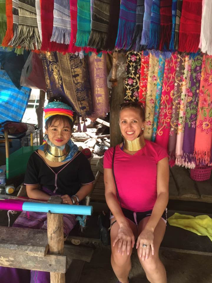 i-to-i TEFL intern Jessi with a member of the long-neck Karen tribe in Thailand