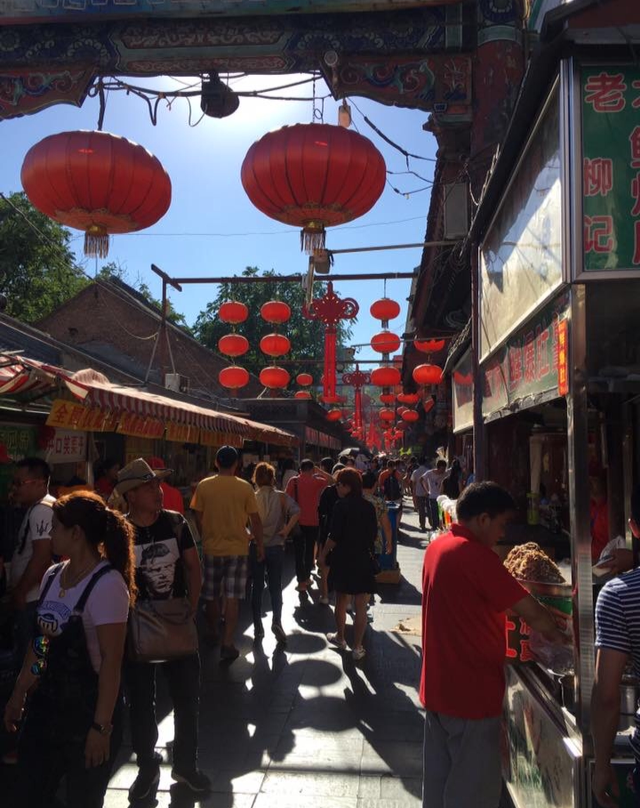 Red lanterns hang in the street of Foshan, China