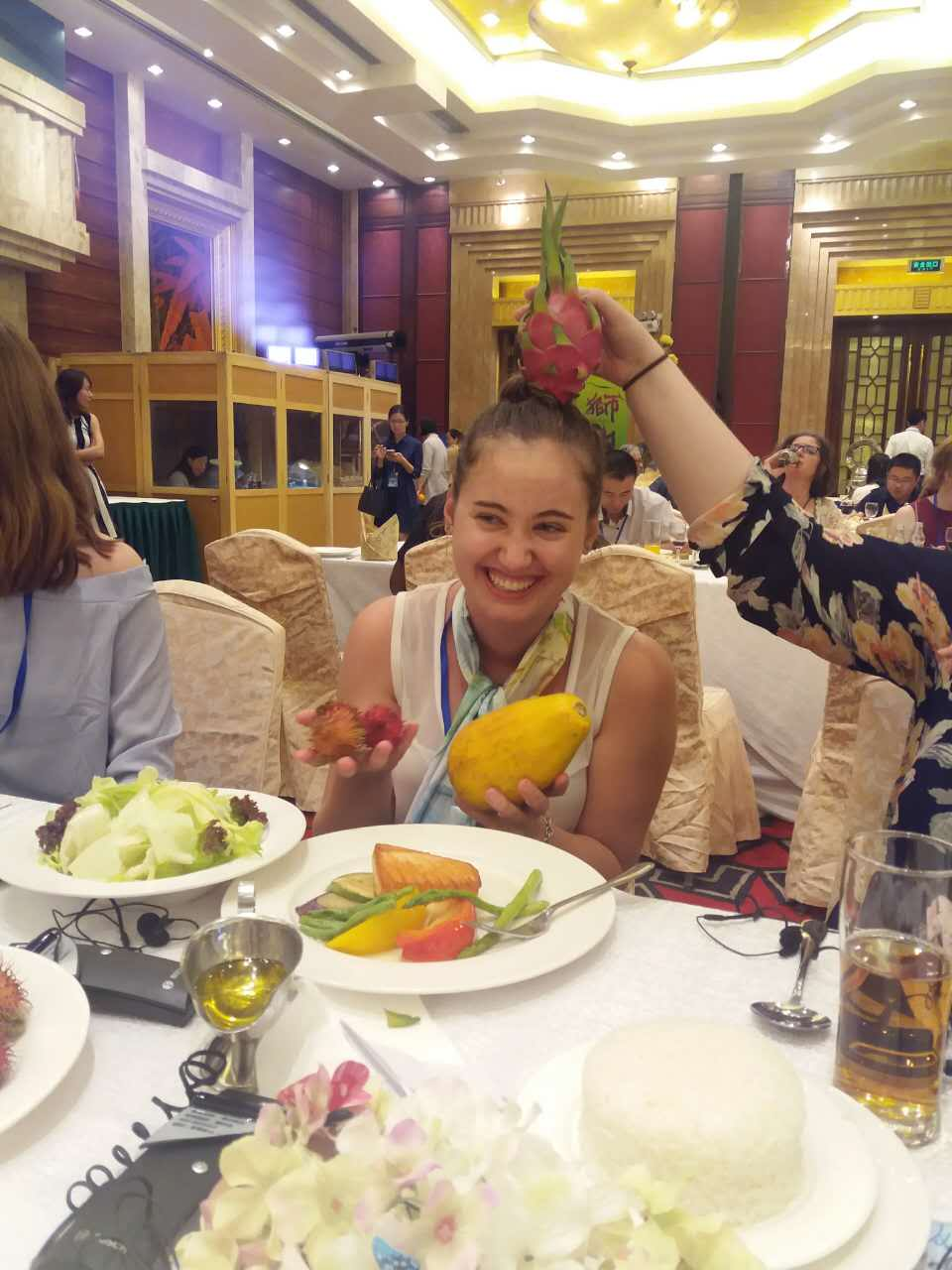 i-to-i China intern enjoys fresh fruit at a restaurant in Foshan, China
