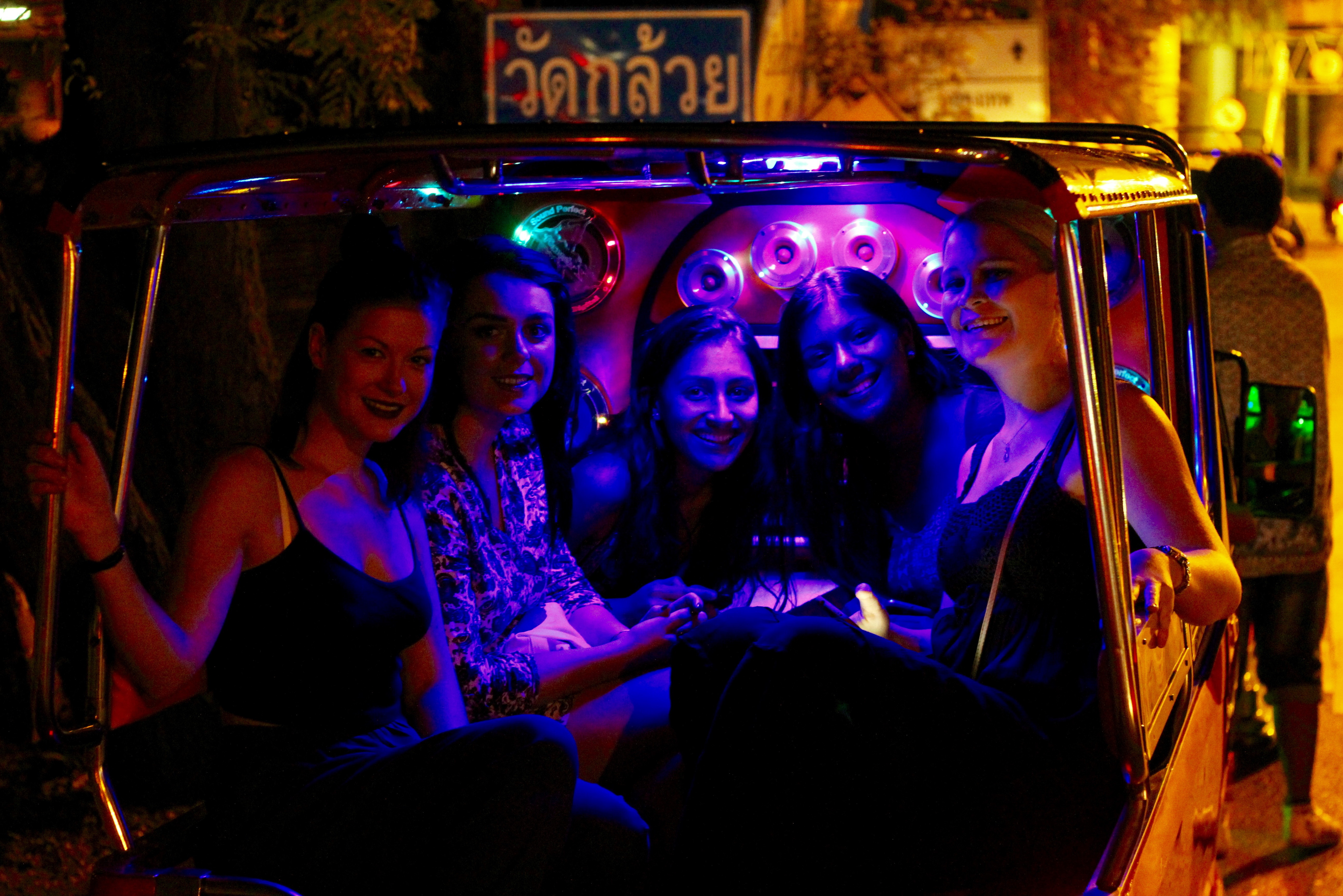 i-to-i Thailand interns in a party tuk-tuk in Ayutthaya, Thailand