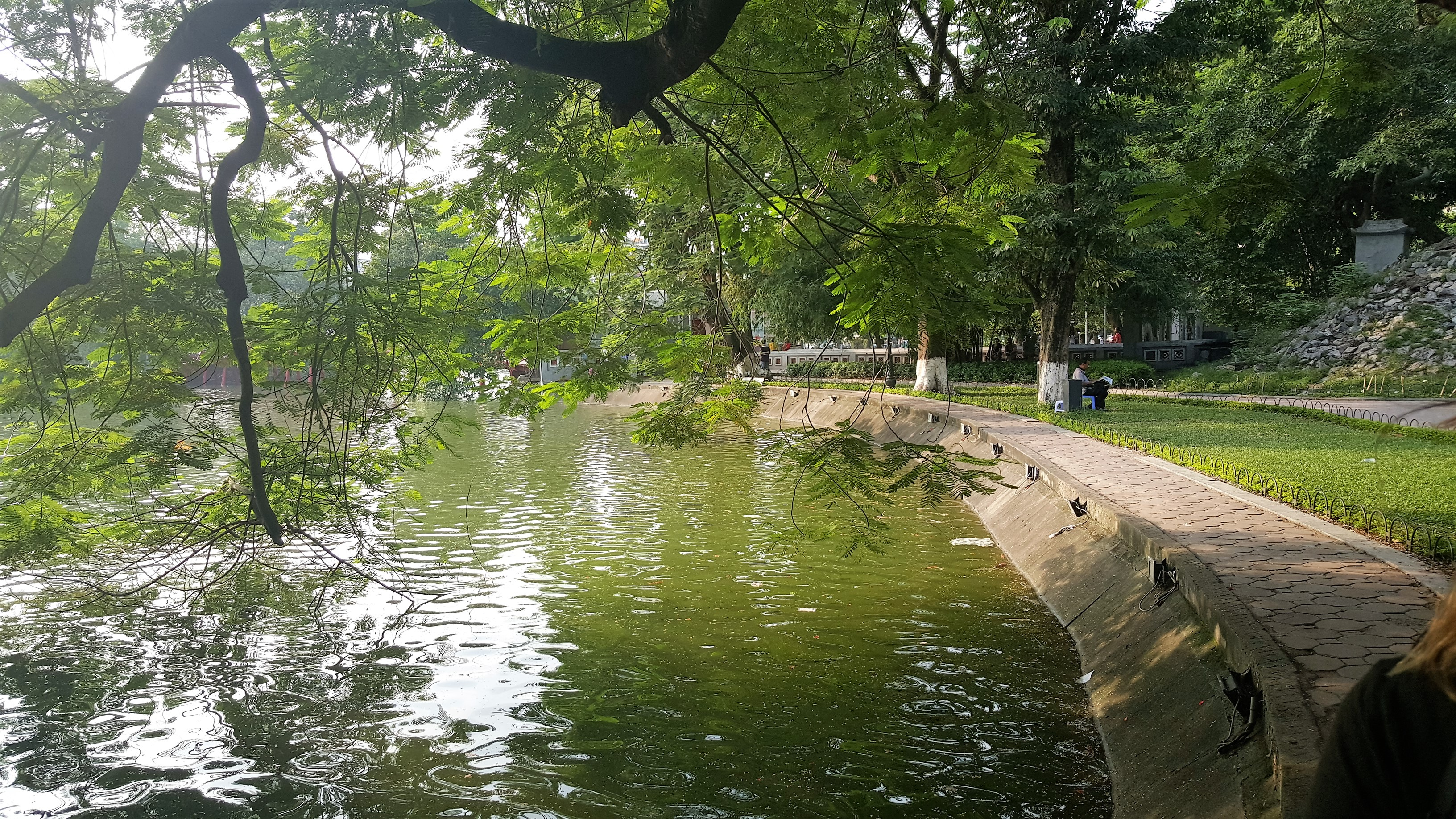 A view across a lake in Hanoi, Vietnam