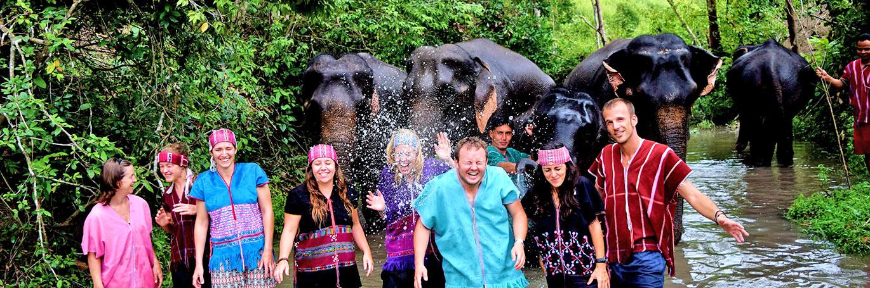 TEFL students with elephants