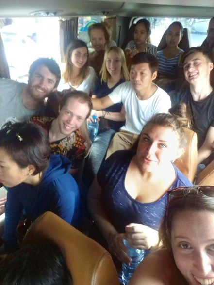 Squashed bus on i-to-i TEFL intern trip to Ninh Binh Vietnam