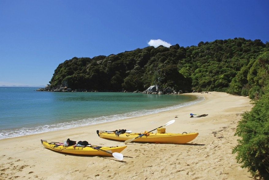 New Zealand Beach with canoes