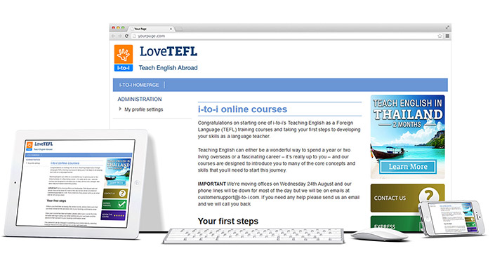 Desktop, tablet and mobile examples for using the i-to-i website