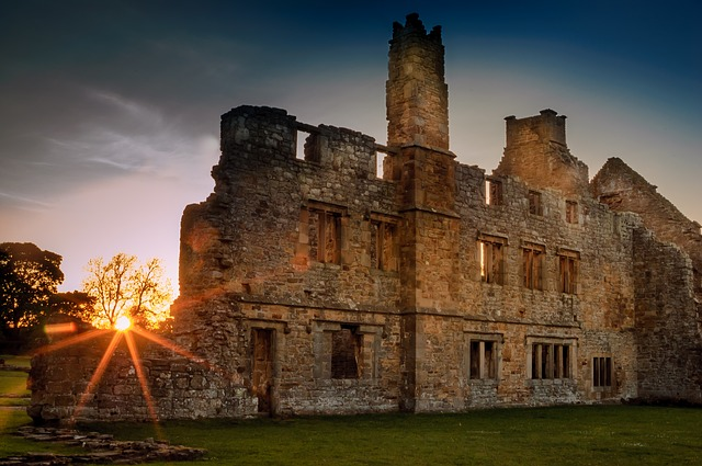 Abbey ruin in the sunset