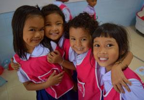 TEFL schoolchildren smiling