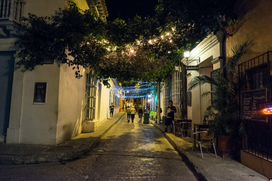 Cobbled street in Cartagena, Colombia at night