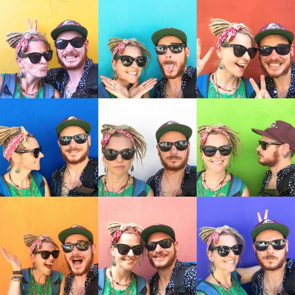 Kristy and Jarryd Selfie Montage in Colombia using colourful walls as background