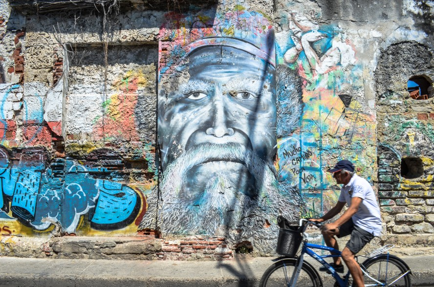 Street art of an old man with a beard in Cartagena, Colombia