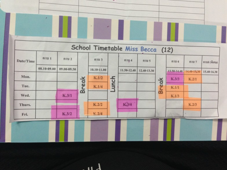 Thai school timetable