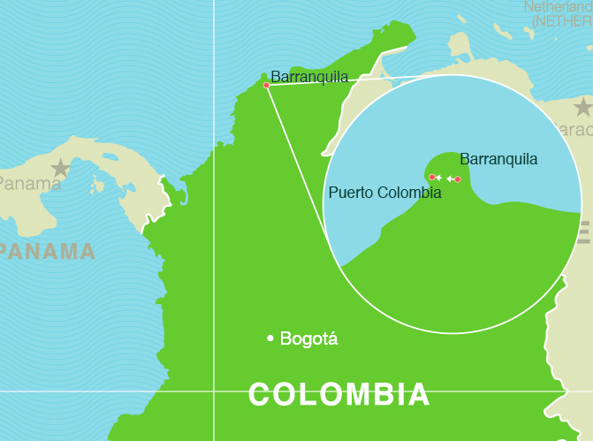 Colombia TEFL Experience Map