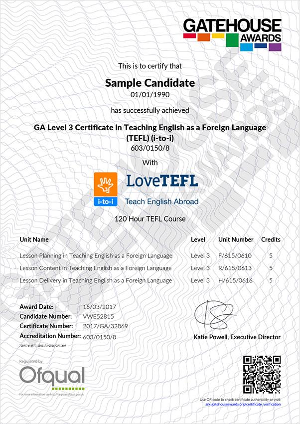 Gatehouse Awards Sample Certificate