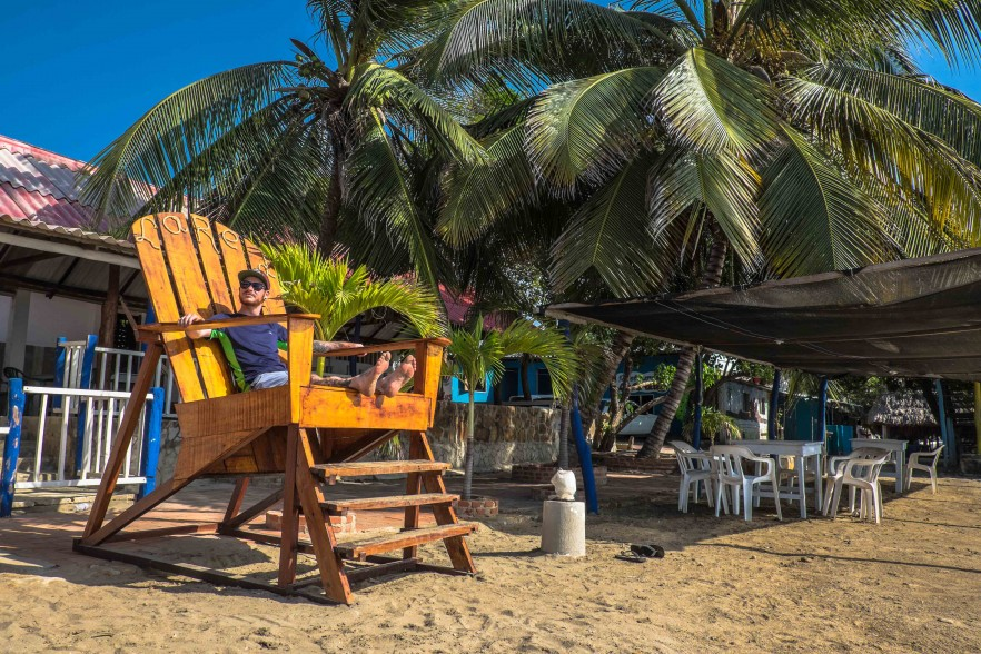 Colombia TEFL intern relaxing in a giant deckchair