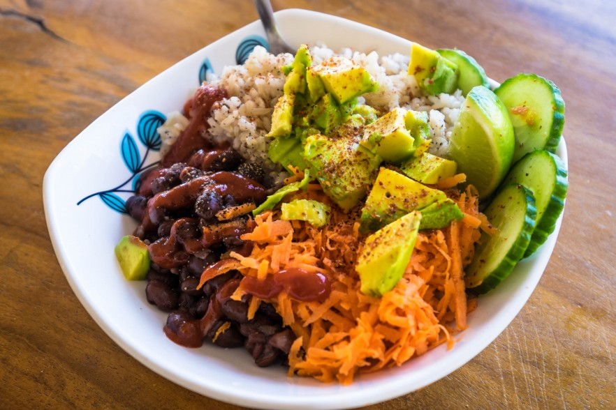 Colourful vegan Colombian salad