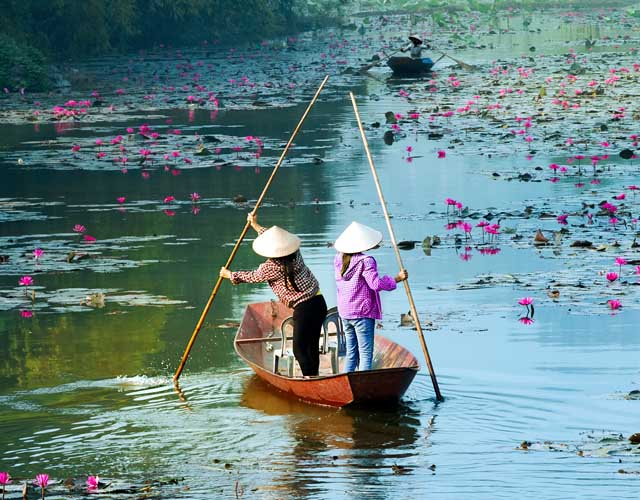 Boats on the Hanoi Yen River in Vietnam