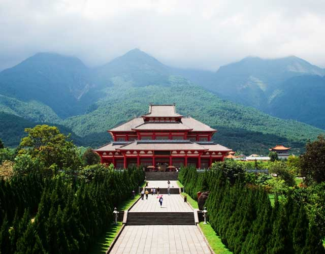 Temple with mountain view in China