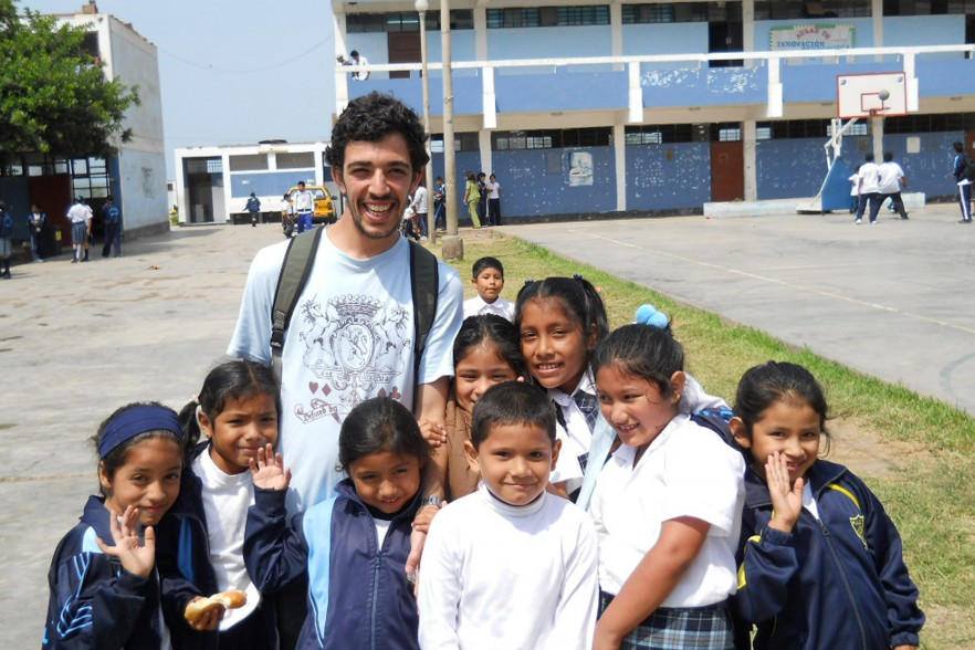 An English teacher abroad with a group of students