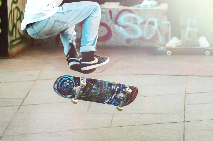 skateboard to church