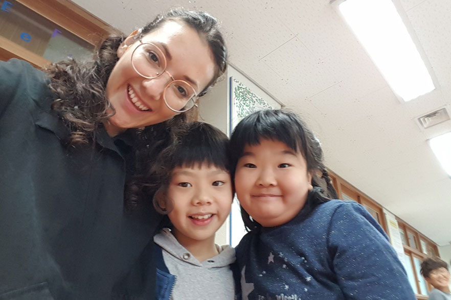 Rocio teaching English in South Korea