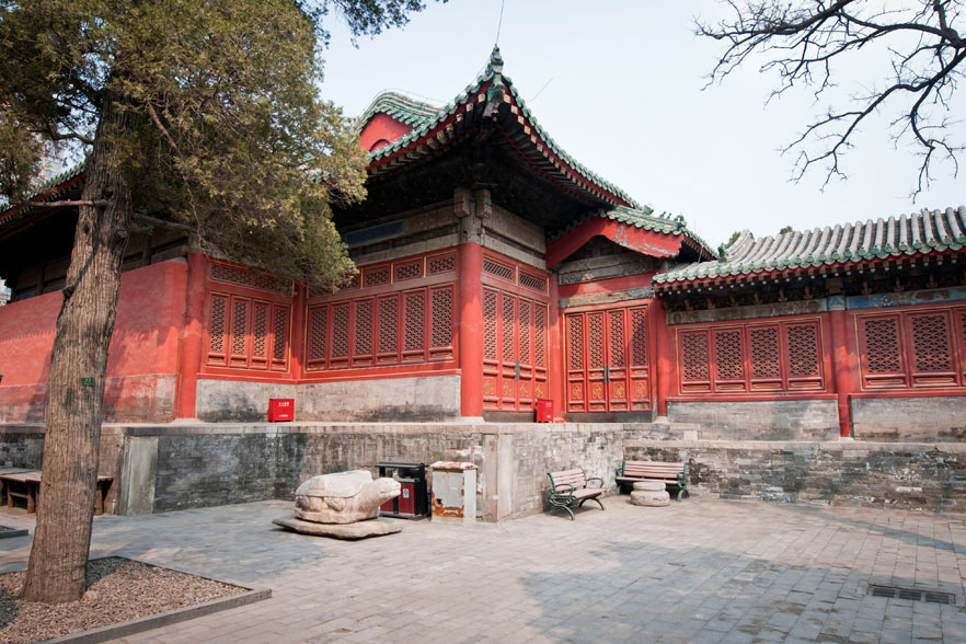 Wooden pavilion in Dongyue Temple, Chaoyang District in Beijing