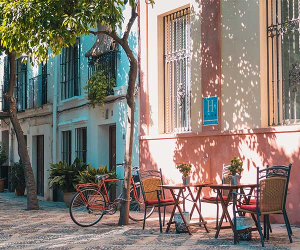 An outdoor cafe scene in Spain