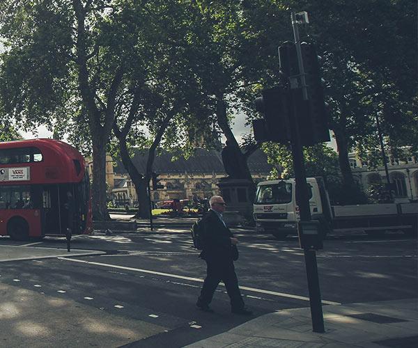 Man walking through London street