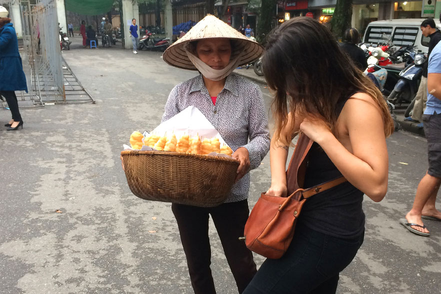 buying local produce in Hanoi