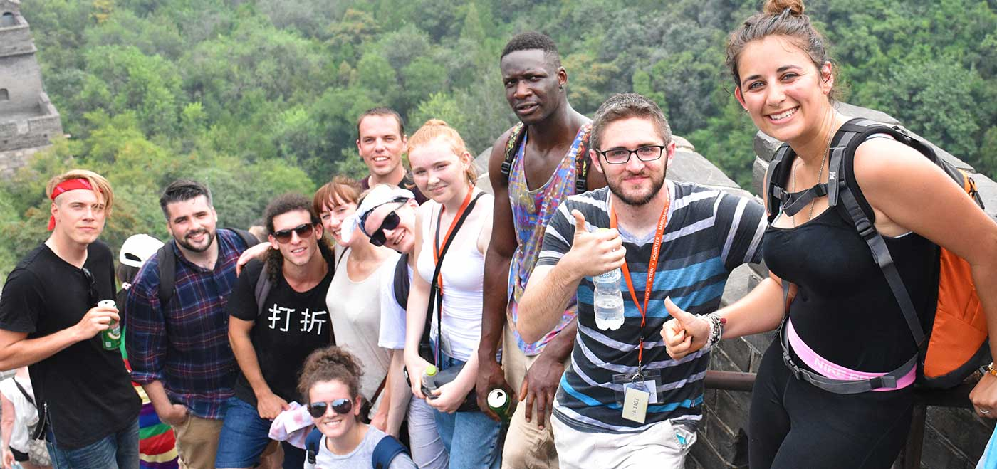 TEFL students traveling on the great wall of china