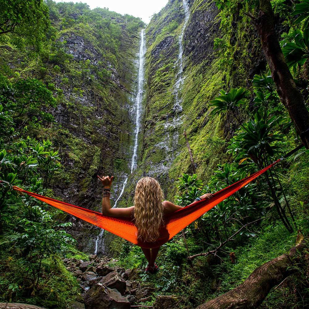 Girl on hammock in djungle abroad