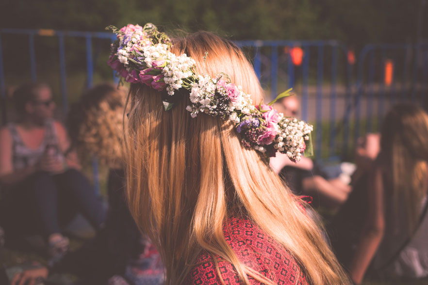 Flowers in girl's hair